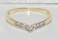UK Hallmarked 9ct Yellow Gold 0.10ct Wishbone Eternity / Wedding Ring - size Q