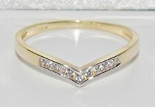 UK Hallmarked 9ct Yellow Gold 0.10ct Wishbone Eternity / Wedding Ring - size S