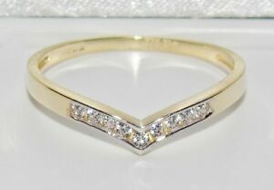 UK Hallmarked 9ct Yellow Gold 0.10ct Wishbone Eternity / Wedding Ring - size J