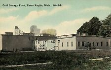 Cold Storage Plant Horse buggy Eaton Rapids  MI Mich Michigan Postcard