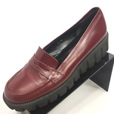 VIA SPIGA Women's Solid Red Leather Crepe Sole Creepers Moccasins 9.5M Italy