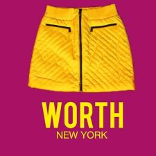 Fab Yellow Quilted Zip Front  Worth New York Skirt Sz 10 NWT $498.00 STEAL!!