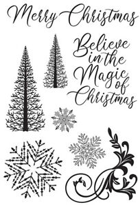 Kaisercraft Let it Snow Clear Cling Stamps Christmas Trees Snowflakes
