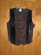 Vintage Women's Western Vest Button Up Velvet Paisley Holiday Costume SZ M Black