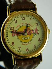 HARD ROCK ATLANTA  WATCH  BROWN  LEATHER BAND /NEW BATTERY