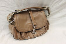 Marc Jacobs Leather Shoulder Bag Purse Beige Pockets Great Used Cond AUTH 1351