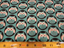 Hoot OWL Pack Allover Aqua Blue Cotton Flannel Fabric BTY
