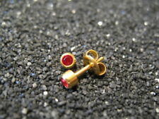 3mm JULY / RUBY Birthstones PIERCING Studs Earrings GOLD - STERILIZED - USA Made