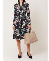 Hobbs Kasia Black Floral V Neck With detachable Tie Summer Dress Uk10 Rrp£129