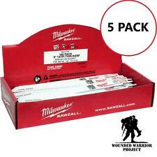 WWP Milwaukee 48-01-7187 9 in. x 14 TPI Thin Kerf Sawzall Blades (5 piece set)