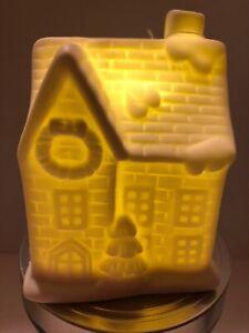"""LED Lighted Christmas Ceramic House White 4.35"""""""