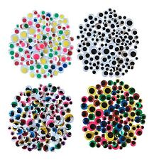 500 Googly Art Craft Wiggly Kids Stickers Wobbly Eyes SELF ADHESIVE Assorted