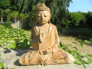 Wooden Buddha Carving - Hand Carved Thai Meditating Buddha 20cm