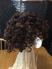 New Brunette Two Tone Color WIG Short Curly Elastic Comb Cap Synthetic Hair