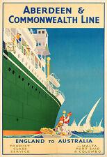 ABERDEEN  COMMONWEALTH LINE  ENGLAND TO AUSTRALIA Travel  Deco  Poster Print