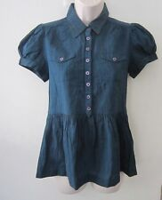 FRENCH CONNECTION Cap Puffy Sleeves Collared Tunic Blouse Top ~ Size 4 ~Flawless