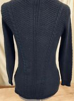 Women's Juicy Couture SZ S Bl Scoop Neck Sweater Pullover Bird Nest Cable Knit