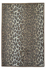 Faux Fur Leopard Doormat Rug Floor Kitchen Bath Mat with Non-Slip Rubber Backing