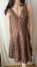 JESSICA MCCLINTOCK Brown Sleeveless Foil Paper Dress Sz 10 FREE POST