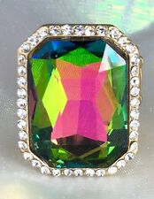 """Big & Showy! 1 1/4"""" Green Crystal Stretch Ring, Drag Queen, Stage, Evening, Chic"""