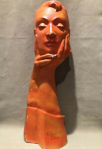 """Vtg Rare Christian Dior Mid Century 23"""" Mannequin Bust OrangeRed Some Paint Loss"""