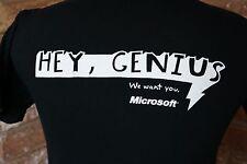 "Microsoft ""Hey Genius"" Office Employee Recruitment Adult Small M T-Shirt Black"