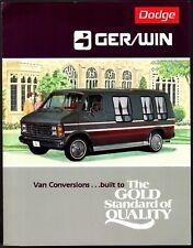 Original Vintage 1984 Dodge Ram Gerwin Conversion Van Dealer Sales Brochure
