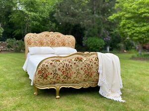 DEMI CORBEILLE FRENCH DOUBLE BED FRAME - STUNNING FLORALS WITH GOLD FRAME