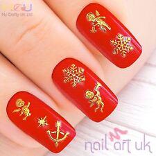 Gold Snowflake Cherub Nail Stickers, Art, Decals, xmas, christmas, 01.02.100