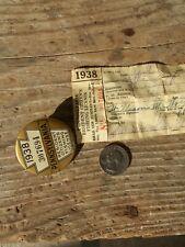 Pennsylvania 1938 resident fishing license & button