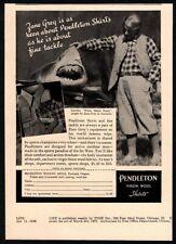 "1938 PENDLETON Wool Shirts - Zane Grey Caught ""White Death""  Shark VINTAGE AD"