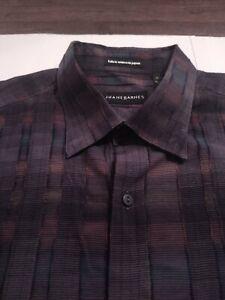 JHANE BARNES Men's Button Front 100% Cotton Large MULTICOLOR L/S Shirt