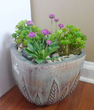 Artificial Plastic Plants Set of 4 Ganoderma Grass And Purple Flower