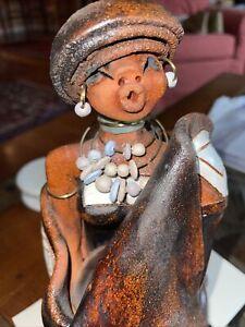 "Terra Cotta Glazed Slab Clay Woman Blanket Sculpture Figurine ~11x6.5x5"""