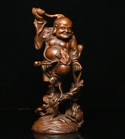 Chinese Folk Collect Boxwood wood Carve LiuHai play Golden Toad Spittor Statue