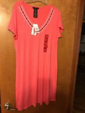 NWT Womens DESIGN HISTORY Tropicana Coral Pink  Embroidered Summer Dress XL