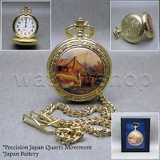 GOLD Pocket Watch DEER Enamel Cover Men 47 MM with Fob Chain & Gift Box  C14A