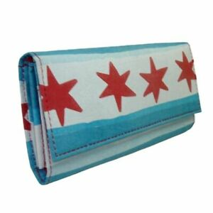 Chicago Flag women's wallet - lightweight, made with upcyled plastic bags