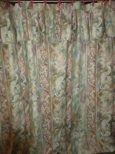 JC PENNEY MUSTIQUE GREEN ROSE PAISLEY TUSCAN FLORAL SHOWER CURTAIN W/RINGS