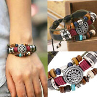Crystal Flower Multi-layer Natural Stone Wrap Bracelet Leather Bangle Jewelry