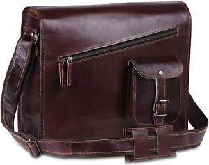 Vintage Brown Genuine Leather Messenger Laptop Briefcase Shoulder Sling Side Bag