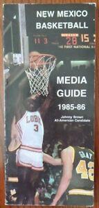 1985-86 NEW MEXICO UNIV LOBOS MEN'S BASKETBALL MEDIA GUIDE - JOHNNY BROWN COVER