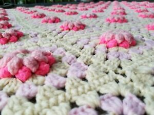 HANDMADE Crocheted AFGHAN pink Rose FLOWER Quilt Lap THROW BLANKET bedspread