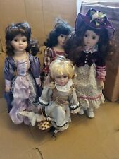 Vintage Porcelain Dolls X 4 Job Lot  Various Sizes  Different Styles of Clothing