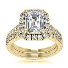 Halo Set 6.27 Carat Natural Emerald Cut Diamond Engagement Ring 14k Yellow Gold