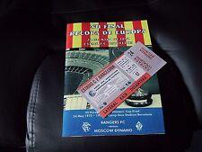1972-Rangers V Moscú Dínamo-ECWC final programa & Ticket