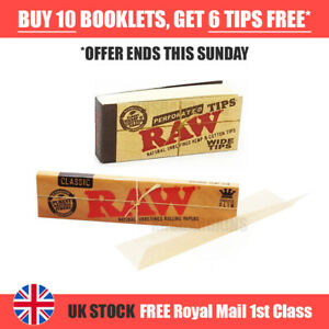 AUTHENTIC RAW Rolling Papers King Size Slim Classic Unrefined Skin +FREE Tips