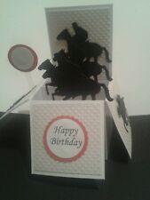 Handmade Horse racing themed birthday pop up card