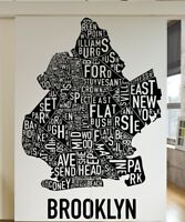 Vinyl Wall Decal Sticker New York City Brooklyn Words Map #5215