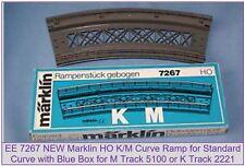 EE 7267 New Marklin HO Curve Bridge Ramp for K/M Track w Blue OBX